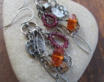 Orange Amber Long Silver earrings BOHO silver jewelry silver Charm Earrings Dangling Gemstone earrings wire wrapped Earrings