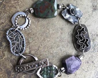 Chunky Silver Charm Bracelet Purple Gemstone Bracelet Boho Silver Jewelry Charm Bracelet Rustic Silver Jewelry Small Green Purple Bracelet