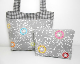 Silver Tote Bag, Fabric Tote Bag Set, Gray Purse with Cosmetic Pouch, Tote and Make Up Bag