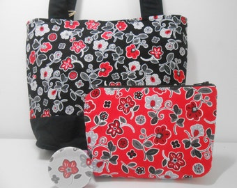 Red and Black Floral Medium Purse Set with Cosmetic Pouch and Pocket Mirror, Tote with Accessories