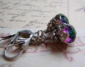 Faerie Tears Blue Zircon and Purple Earrings Antique Silver Ear Wire 9 x 6 mm Glass Dangle