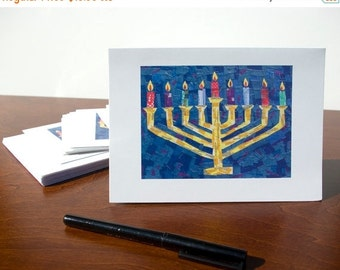 50% OFF SALE - HANUKKAH Cards - Set of 10 Menorah Greeting Cards, Judaica, Happy Hanukkah Cards, Jewish Holiday Cards, Chanukah Cards by Cla