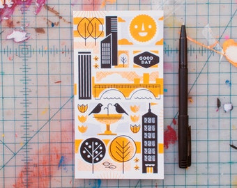 Yellow and Black Cityscape Journal (JCY-01) Screen-Printed Vintage Retro Mid-Century Modern Lined Notebook