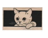 Cat  rubber stamp, sitting stamping black and white  art and craft supplies   number 6562