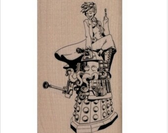 Rubber stamp Brian Kesinger Dalek And Victoria   stamping rubberstamp  by Brian Kesinger Octopus  19851