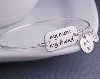 My Mom My Friend Bracelet, Personalized Mother's Day Bracelet, Gift for Mom, Mother's Jewelry, Birthday Gift for Mom