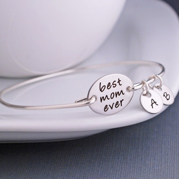 Mother's Day Jewelry Gift, Christmas Gift for Mom, Custom Engraved Silver Bangle Bracelet, Bracelet with Kids Initials