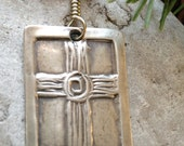 Rustic Cross in Fine Silver, Irish Celtic Jewelry, Cross Jewelry, Faith Spirituality Jewelry