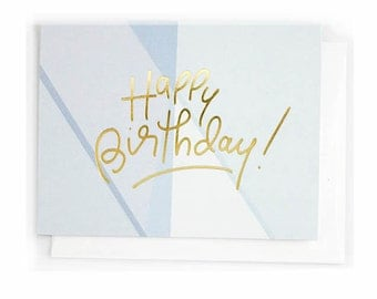 Happy Birthday, Blue Gold Foil Notecard