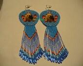 Native American Style Rosette beaded  Shoulder Duster Bear earrings in Medium blue