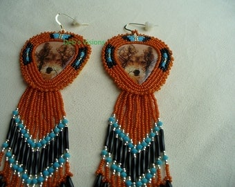 Native American Style Sunset Wolves peeking through the trees Rosette stitched earrings