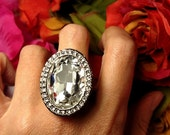 SALE TODAY Runway Huge Elegant Estate Burlesque Clear Crystal Rhinestone Cocktail Statement Ring Size 10
