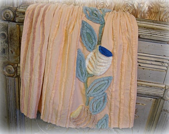 """vintage peach chenille fabric 50"""" x 18"""" shades of peach chenille stripes with floral"""