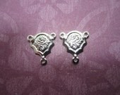 Art Nouveau Y Connector Silver Tone Links with 3 Rings on Etsy x Quantity Choice 2-4 or 6