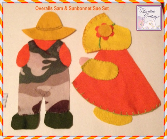 Sunbonnet Sue and Overalls Sam, Set, Appliques, Handamde