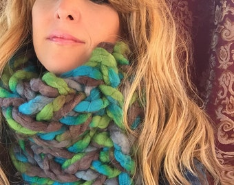 "Infinity Scarf, SUPER Chunky Hand Knit,  Tube Scarf, Neck Warmer- ""Seaside"""