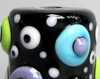Turple & Green Mod Spot Big Drum Barrel--Handmade Lampwork Glass Bead