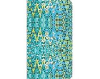 Turquoise, Boho, iPhone 6s plus wallet case, iPhone 7 wallet case, wallet case, s6 wallet case, Folio wallet cases, S8 wallet case