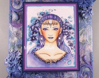 Moon  Goddess Handmade OOAK Mixed-Media Wall Art by AJ's Designs