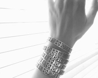 Silver Cinderblock Cuff