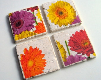 Tumbled Stone Earth Coasters - Gerbera Daisies - art papers, botanical home décor, daisy coasters, beverage coasters, stone, hostess gift