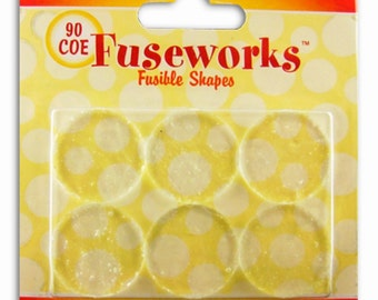 Fuse Glass with (6 pack) of 1 inch Round Fusible COE90 CLEAR GLASS Circles by Fusewoks