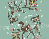 Squirrel art print for kids' rooms and nurseries Supayana