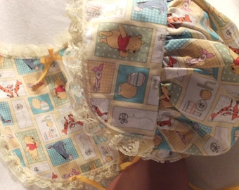 Adult Baby Sissy  Matching Bonnet and Bib  Set Yellow Pooh