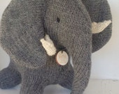 Elephant, Natural Toy, Waldorf Toy, Stuffed Animal, Eco Kids Toy, HandKnit, Childrens Toy -  Custom Order