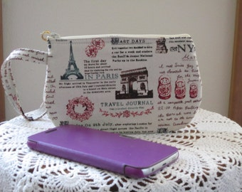 Wristlet Clutch Zipper Gadget Purse Pouch in Travel Journal