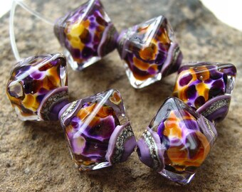 Gilded Age - Set of 6 Crystal Bicone Beads - SRA Glass Lampwork
