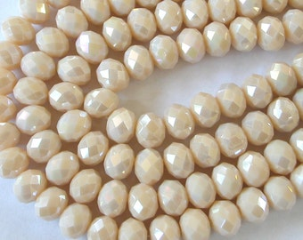 Opaque Ivory Beads,  8x10mm Crystal Rondelle Beads (65)