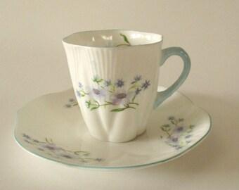 Vintage Shelley England Demitasse Cup and Saucer, Blue Rock Pattern