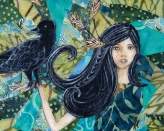 Black bird art, Christmas gift, gifts for her, raven crow, She called him Feathers, blue teal green, Original Fabric on Wood panel