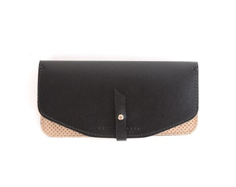 Maxi Wallet- Perforated Tan Suede