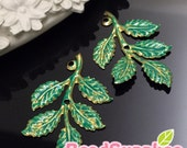 CH-ME-08001TG - Nickel Free, Raw Brass Big Leaf, teal green, 2 pcs