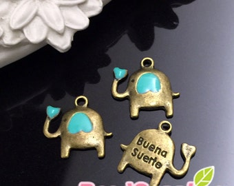 CH-ME-03198ER - Antique brass, Cutie elephant charm with erinite heart, 6 pcs