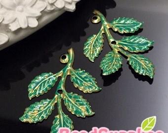 CH-ME-08001TG - Nickel Free, Raw Brass Big Leaf, teal green, 2 pcs