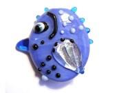 Little bird, Blue glass bead pendant handmade lampwork, Lamp work focal or orphan bead, art bead jewelry supplies, glassbead, SRAJD