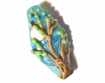 Tree glass necklace, aqua focal bead full moon pendant, 'Early Spring' lampwork glass bead, organic glass bead, orphan bead SRAJD, glassbead
