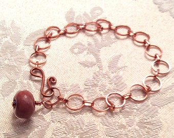 Copper Petite Chain Link Bracelet Lampwork Glass Bead One Of a Kind