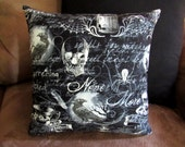 Wicked - 12x12 Pillow - with pillow form - Skull - Raven - Never More - Black - Gothic - Dark - Accent Pillow - Handmade - Spider