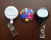 Fabric Covered Button for Clip on Retractable Badge Reel - Jigsaw Puzzle Pieces for Autism Awareness