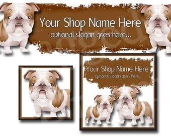 Premade Etsy Cover Photo - Large Etsy Banner - Premade Etsy Shop Banner - SHOP ICON - Shop Profile - Cute Puppy Dogs - Bulldogs - Pets
