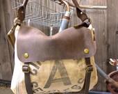 Cincinnati Seamless A  - Vintage Seed Sack Leather Satchel Bag - Americana Leather Canvas & Leather Bag... Selina Vaughans