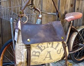 Bemis A Seamless - Illinois - Vintage Seed Sack Leather Satchel Bag - Americana Leather Canvas & Leather Bag... Selina Vaughans