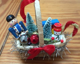 Miniature Basket vintage style Christmas ornament