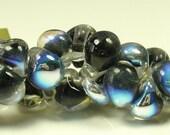 40% Off Sale 10mm Unicorne Tear Drop Lampwork Beads - Black Pearl Metallic - 4 Pieces - 22011
