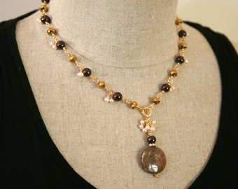 Gold, Brown and Burgundy Necklace. Dangling Pearl Garnet and Jasper. Pendant Necklace. Dressy Jewelry.Formal Necklace