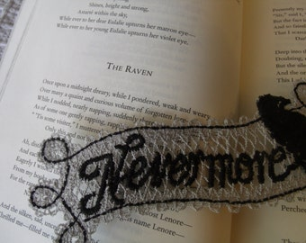 The Raven Nevermore Embroidered Book Marker, Victorian, Edgar Allan Poe, Gothic Poem, Embroidered Book Mark, Thread Book Marker, Black Gray